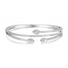 Talon channel Diamond Bangle 18k White Gold