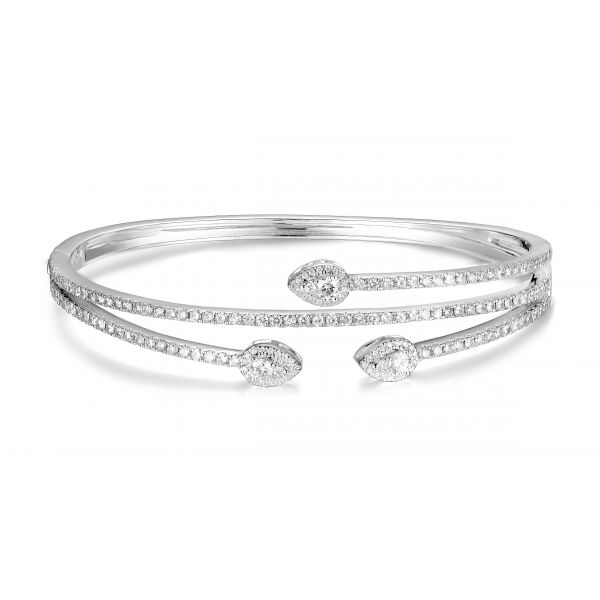 Talon channel Diamond Bangle 18k White Gold