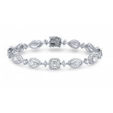 Geometric Diamond Bracelet 18K White Gold