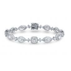 Geometric Diamond Bracelet 18K White Gold