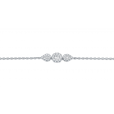 Trine Cluster Diamond Bracelet 18K White Gold