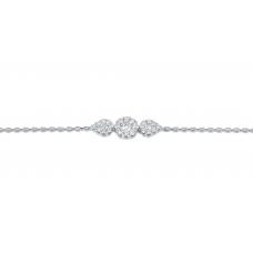 Trine Cluster Diamond Bracelet 18K White Gold