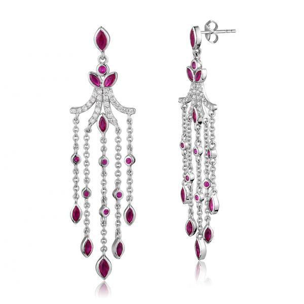Nefili Ruby Diamond Earring 18K White gold