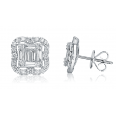 Carre Diamond Earring 18K White Gold