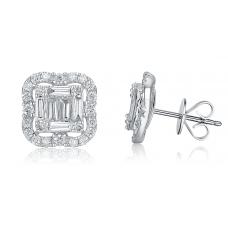 Carre Diamond Earring 18K White Gold