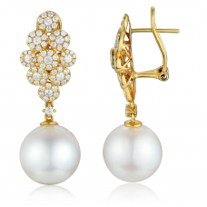 Beaumount Pearl Diamond Earring 18K Yellow Gold