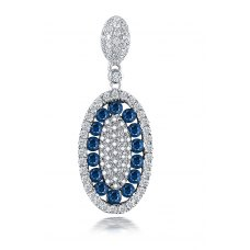 Barony Pave Sapphire Diamond Earring 18K White Gold