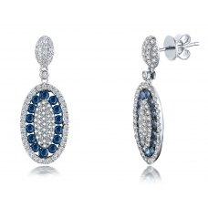 Barony Pave Sapphire Diamond Earring 18K White Gold
