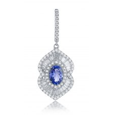 Tella Prong Tanzanite Diamond Earring 18K White Gold