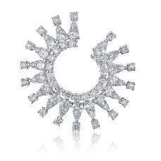 Diamond Sunburst Earring 18k White Gold