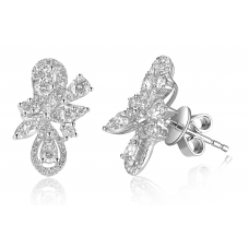 Blomst Channel Diamond Earring 18k White Gold