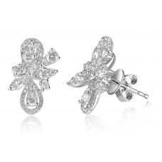 Blomst Channel Diamond Earring 18k White Gold