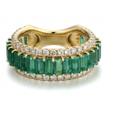 Emerald Diamond Ring 18K Yellow Gold