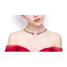 Lockz Ruby Spinel Diamond Choker Necklace 18K Black Gold