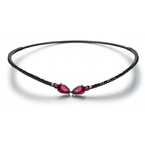 Lockz Ruby Spinel Diamond Choker Necklace 18K Black Gold
