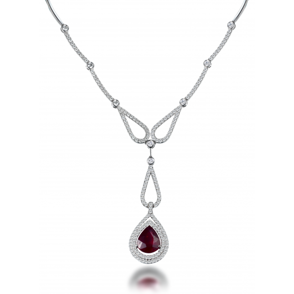 Pear Ruby Diamond Necklace 18K White Gold