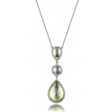 Grandz Green Quartz Diamond Necklace 18K White Gold