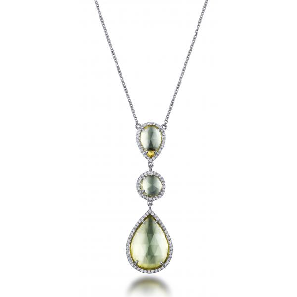 Grandz Green Quartz Diamond Necklace 18K White Gold