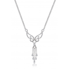 Jenesis Dangle Diamond Necklace 18K White Gold