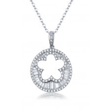 Glan Prong Diamond Pendant 18K White Gold