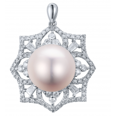 Daria Pearl Diamond Pendant 18K White Gold