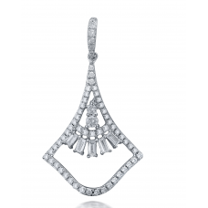 Harp Prong Diamond Pendant 18K White Gold