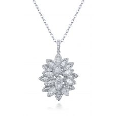 Lacey Prong Diamond Pendant 18K White Gold