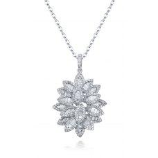 Lacey Prong Diamond Pendant 18K White Gold