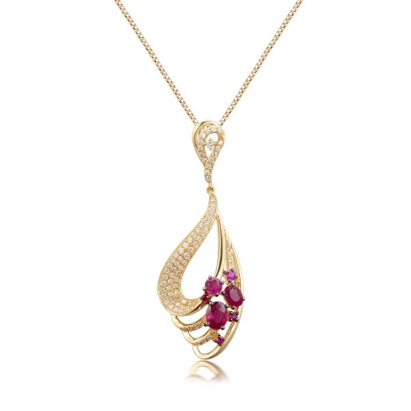 Nereus Ruby Diamond Pendant 18K Yellow Gold