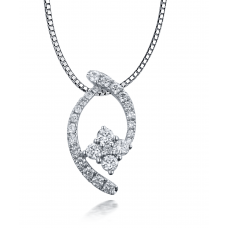 Charissa Prong Diamond Pendant 18K White Gold