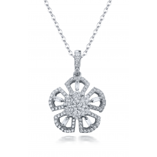 Pembe Channel Diamond Pendant 18K White Gold