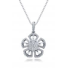 Pembe Channel Diamond Pendant 18K White Gold