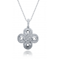 Zareen Channel Dimond Pendant 18K White Gold