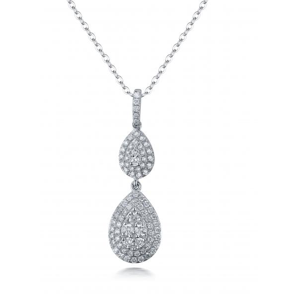 Madison Cluster Diamond Pendant 18K White Gold