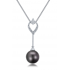 Damara Pearl Diamond Pendant 18K White Gold