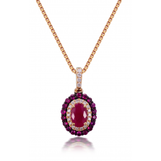 Zina Ruby Diamond Pendant 18K Rose Gold