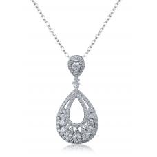 Maverick Prong Diamond Pendant 18K White Gold
