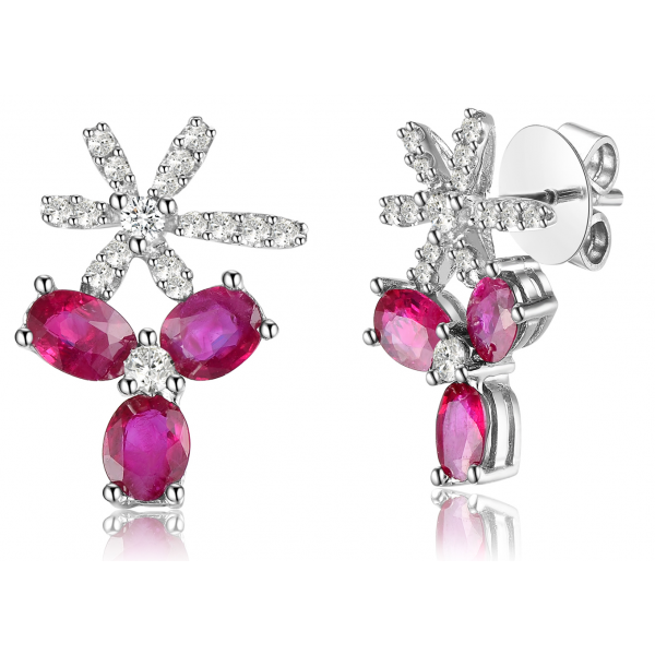 Kyra Ruby Diamond Earring 18K White Gold