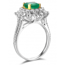 Mojave Emerald Diamond Ring 18K White Gold
