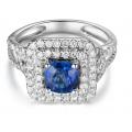 Picabo Sapphire Diamond Ring 18K White Gold