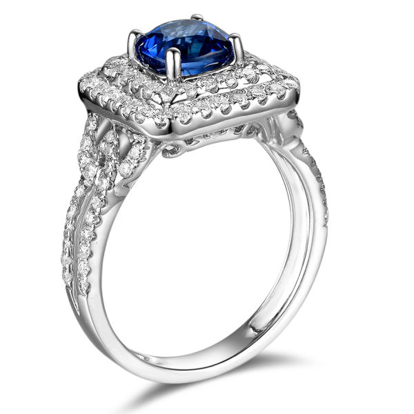 Picabo Sapphire Diamond Ring 18K White Gold