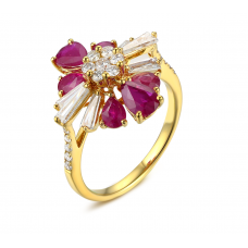 Minerva Ruby Diamond Ring 18K Yellow Gold