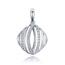 Eleni Prong Diamond Pendant 18K White Gold