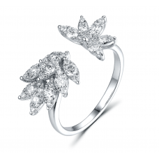 Leafy Channel Diamond Ring 18K White Gold