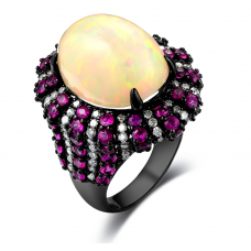 Montana Ruby Opal  Diamond Ring 18K Black Gold