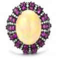 Montana Ruby Opal  Diamond Ring 18K Black Gold