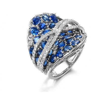 Jonet Sapphire Diamond Ring 18K White Gold