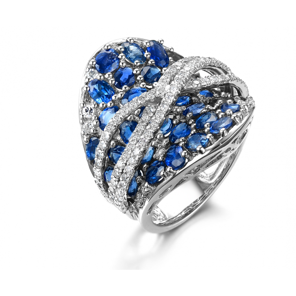 Jonet Sapphire Diamond Ring 18K White Gold