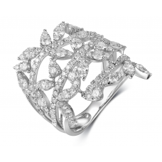 Decima Channel Diamond Ring 18K White Gold