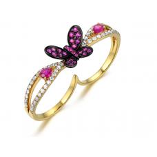 Marilla Ruby Diamond Ring 18K Yellow Gold